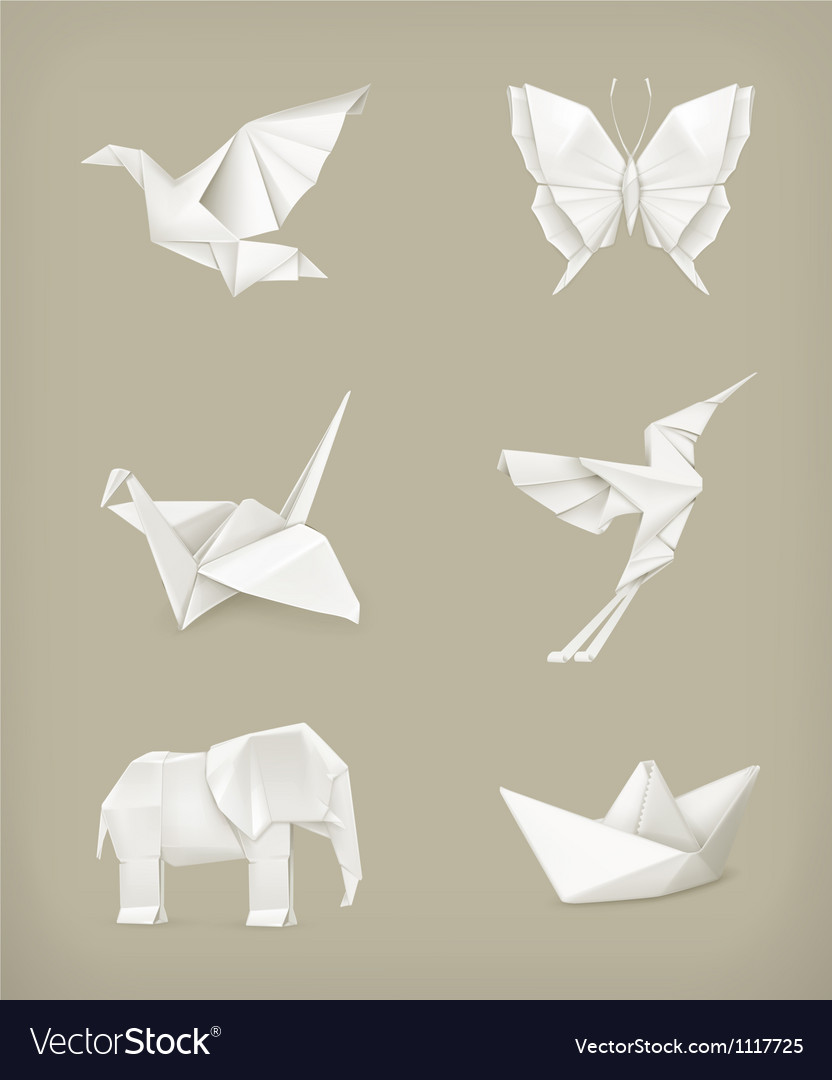 Origami set white vector | Price: 3 Credit (USD $3)