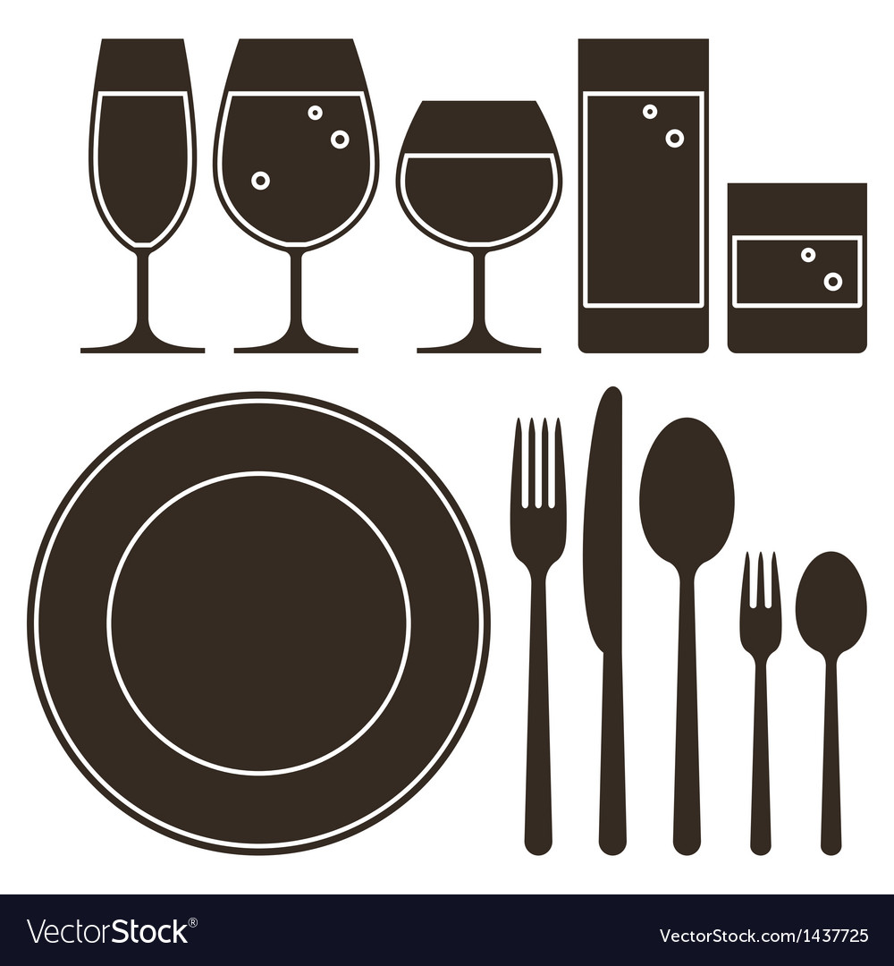 Plate knife fork spoon and drinking glasses vector | Price: 1 Credit (USD $1)