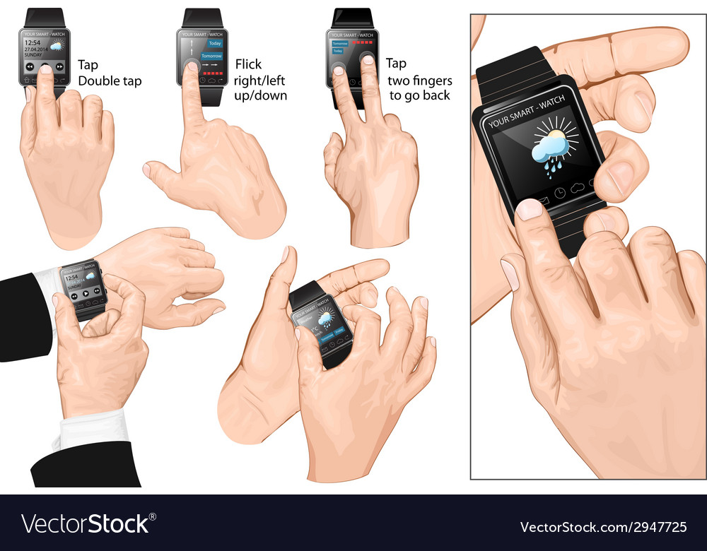 Set of multi-touch gestures for smart-watch vector | Price: 1 Credit (USD $1)