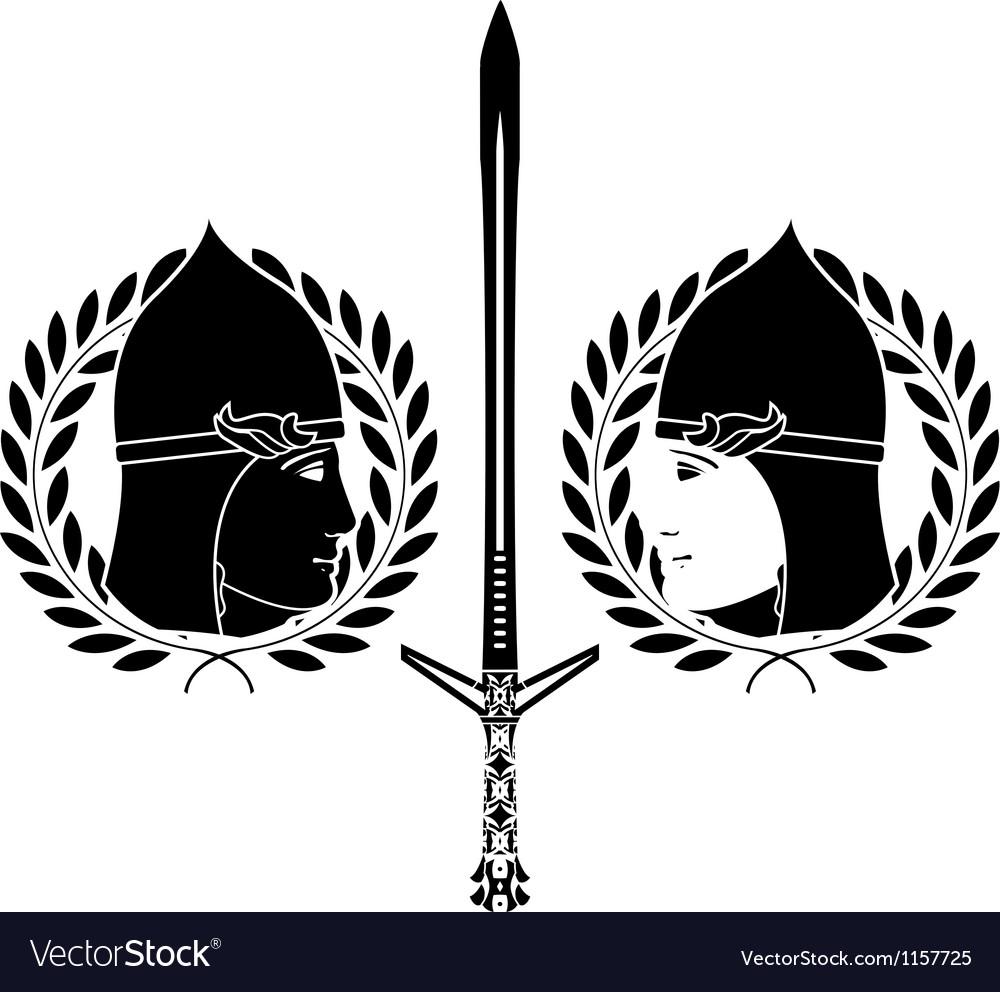Slavonic warrior stencil vector | Price: 1 Credit (USD $1)