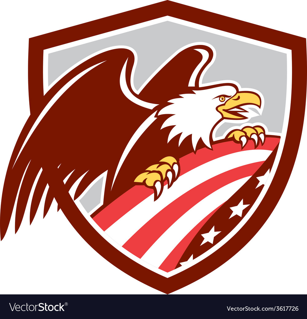 American bald eagle clutching usa flag shield vector | Price: 1 Credit (USD $1)
