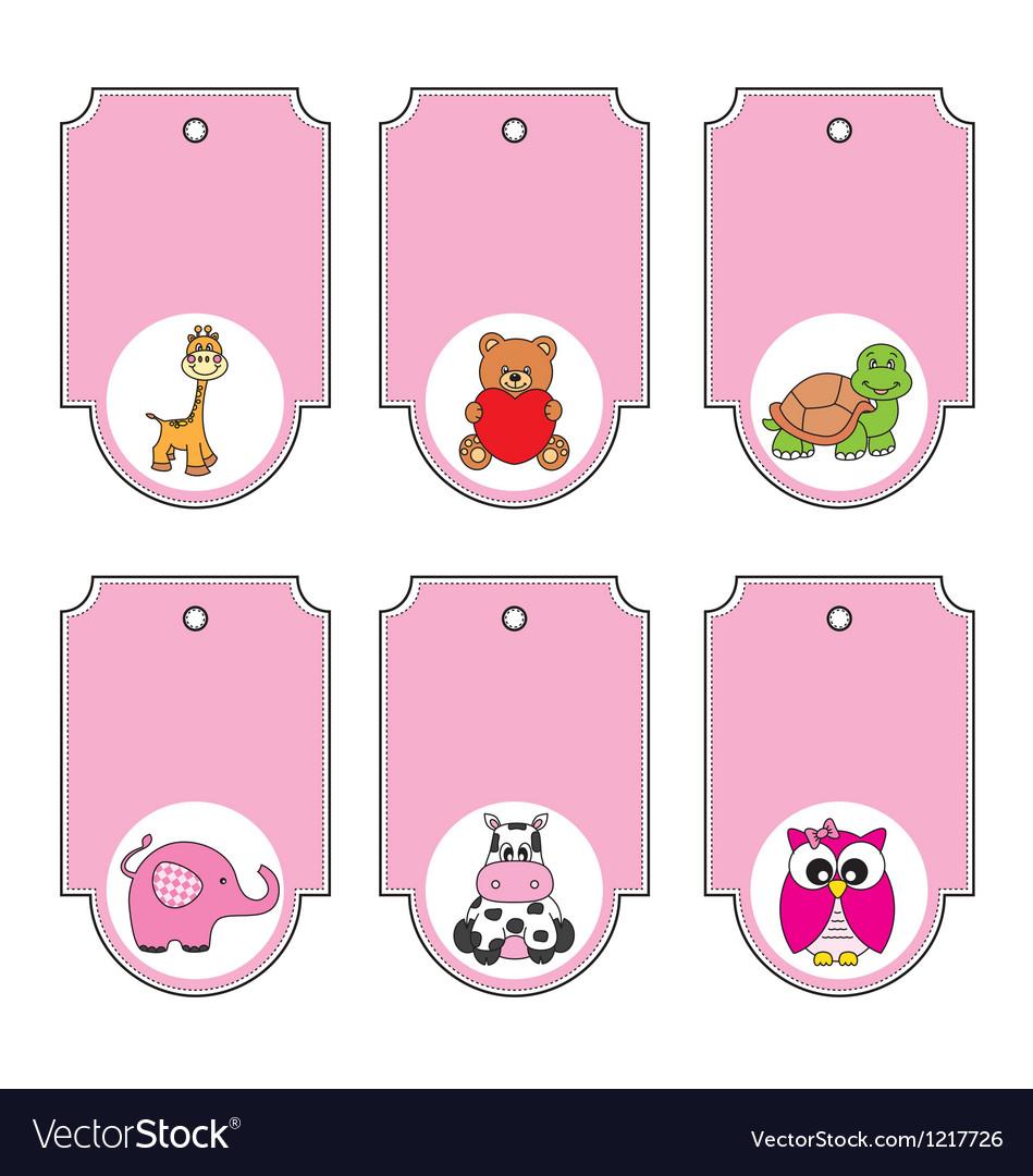 Cartoon animals labels set vector | Price: 1 Credit (USD $1)