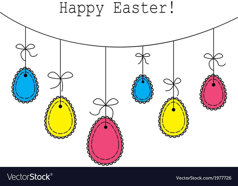 Easter eggs hanging on a rope vector | Price: 1 Credit (USD $1)