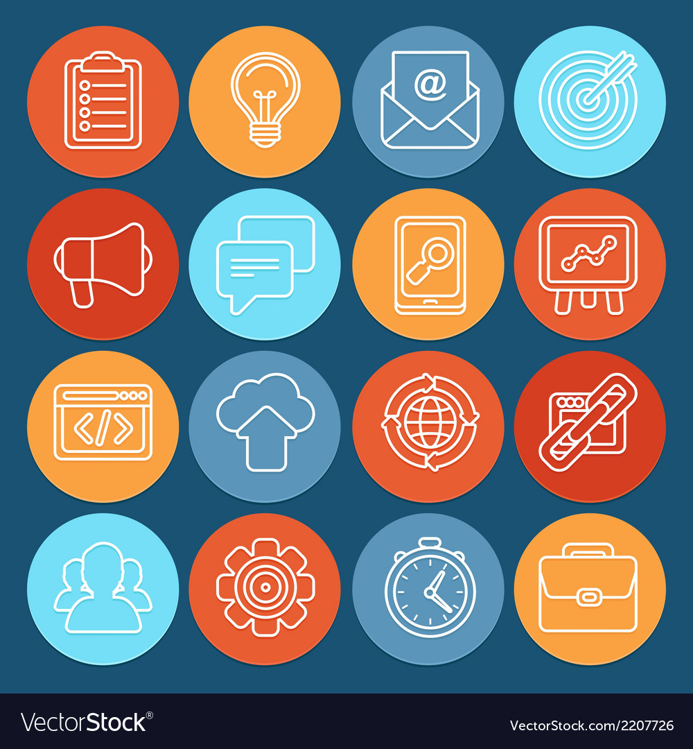 Flat icons - seo symbols in outline style vector | Price: 1 Credit (USD $1)