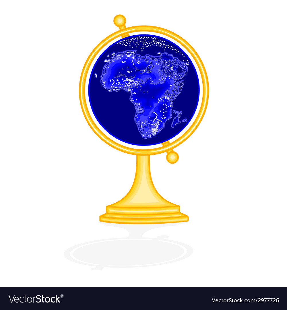 Globe africa at night as engraving vintage vector | Price: 1 Credit (USD $1)