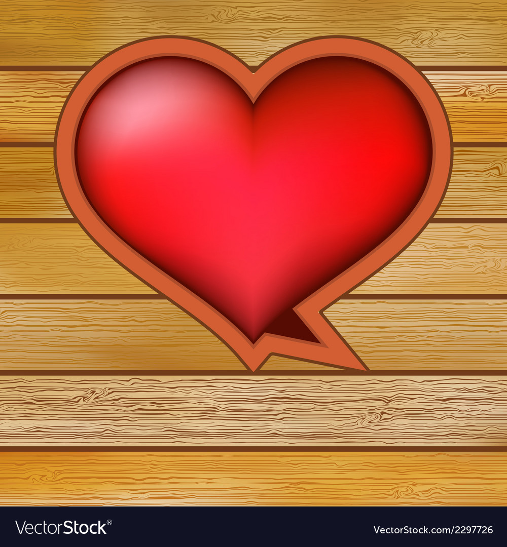Glow heart on wood background  eps8 vector | Price: 1 Credit (USD $1)