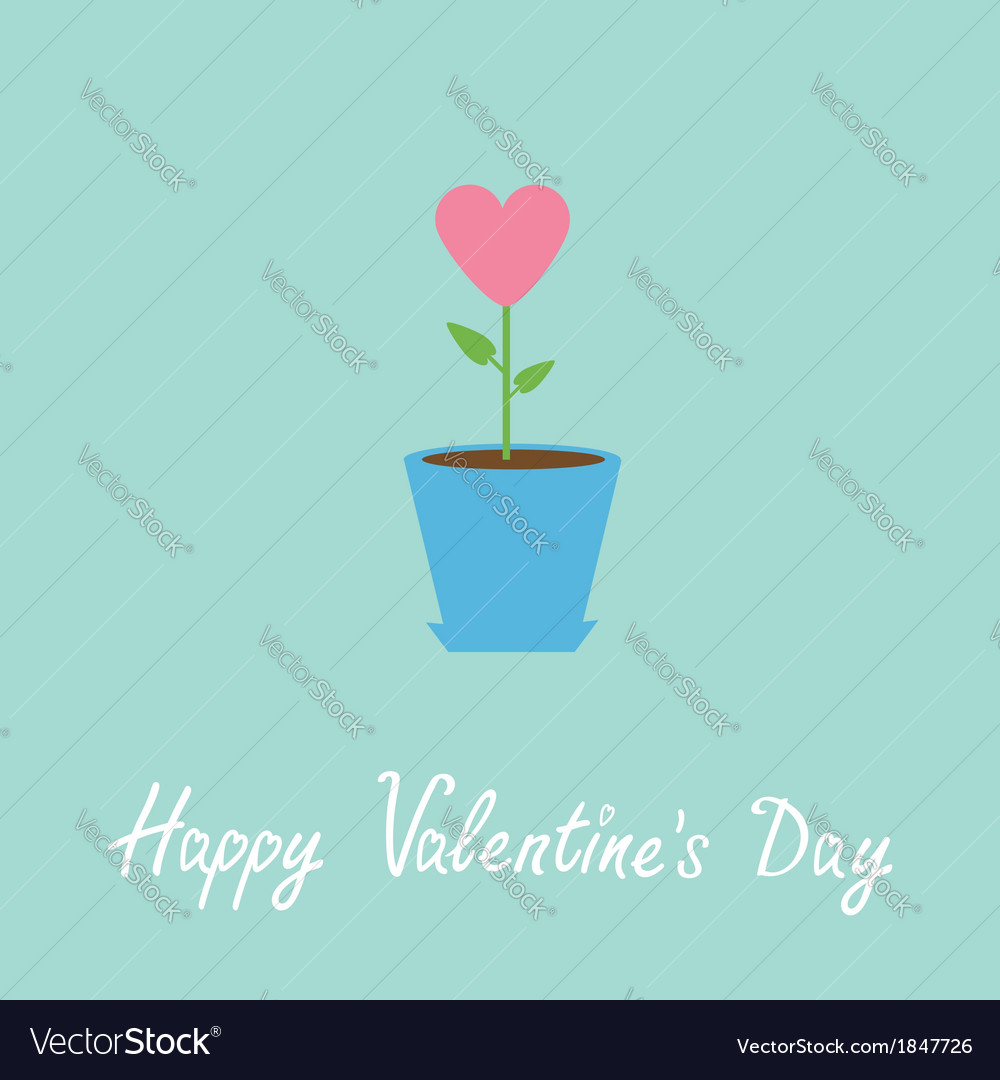 Heart flower in pot happy valentines day vector | Price: 1 Credit (USD $1)