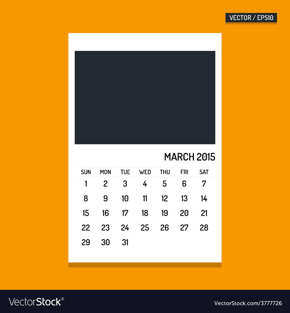 March 2015 calendar vector | Price: 1 Credit (USD $1)