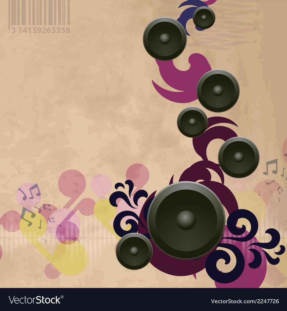 Music back swirl vint vector | Price: 1 Credit (USD $1)