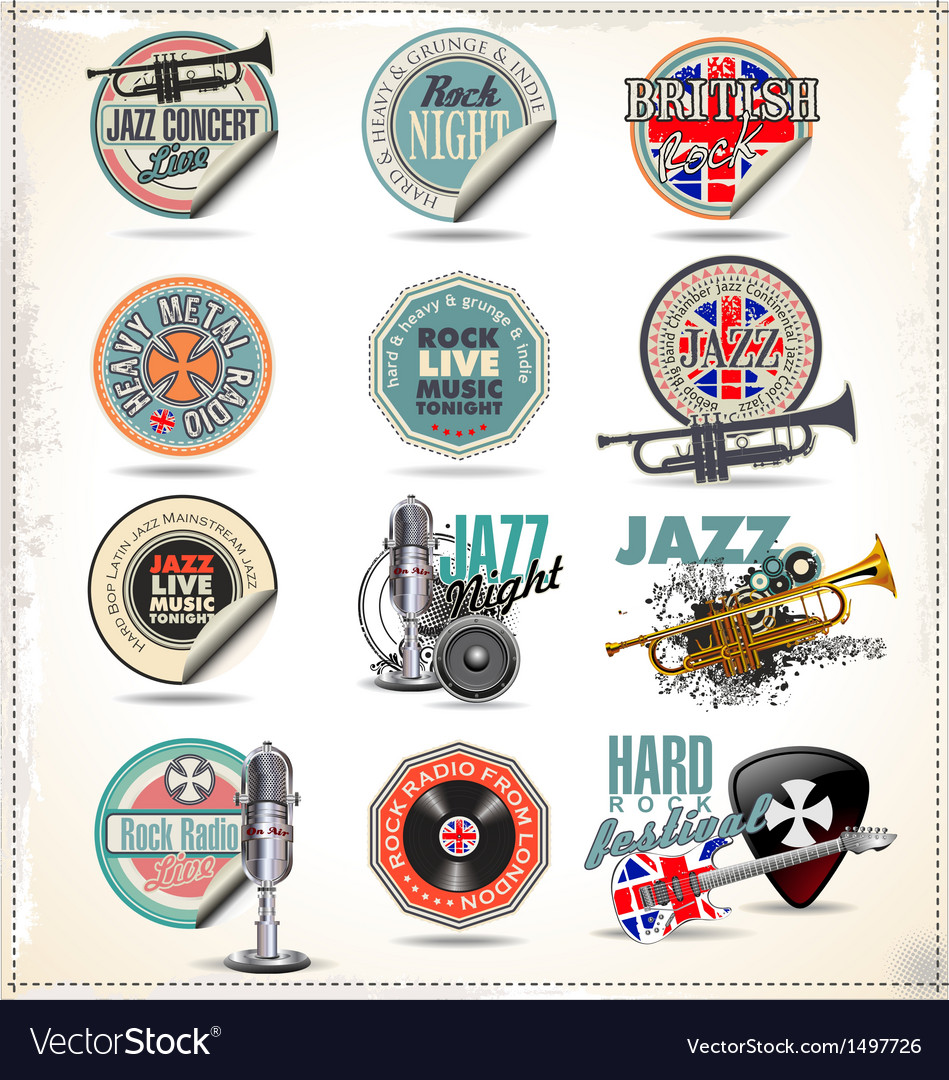 Music stamps and labels vector | Price: 3 Credit (USD $3)