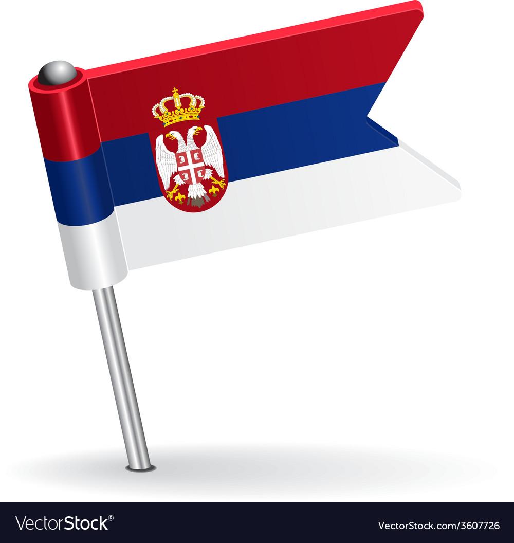 Serbian pin icon flag vector | Price: 1 Credit (USD $1)