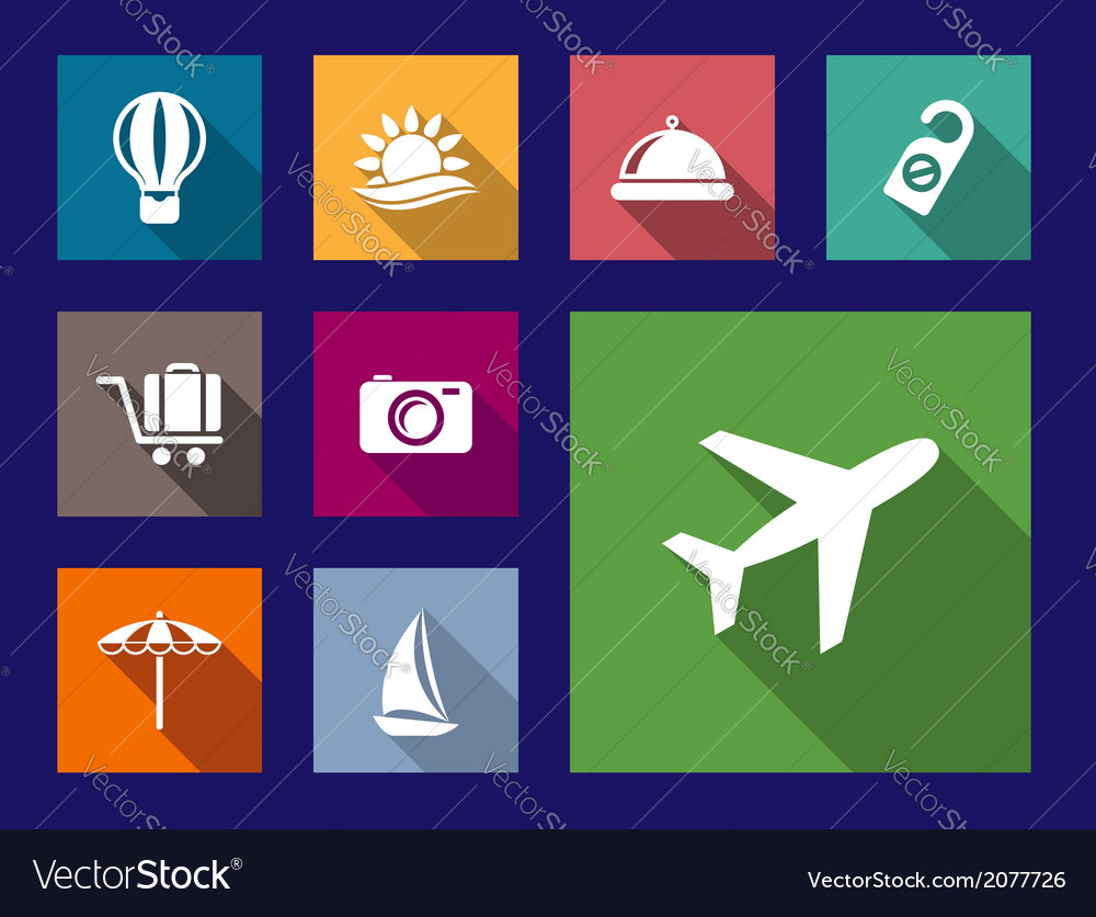 Set of flat travel and vacation icons vector | Price: 1 Credit (USD $1)