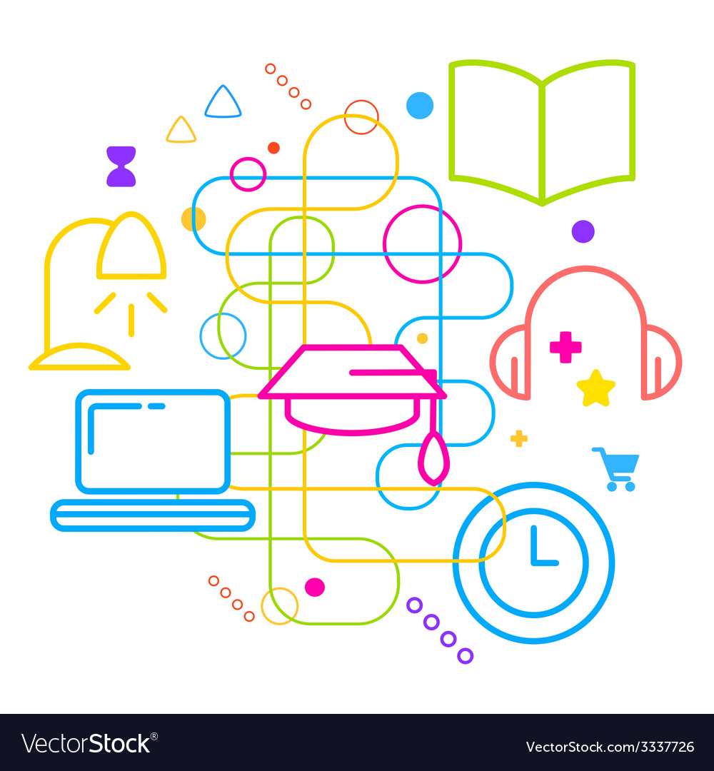 Symbols of education on abstract colorful light vector | Price: 3 Credit (USD $3)