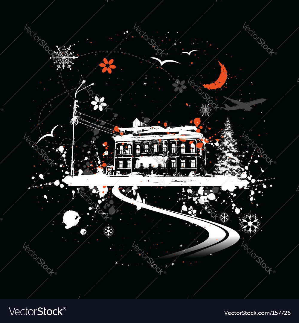 Winter night and house vector | Price: 1 Credit (USD $1)