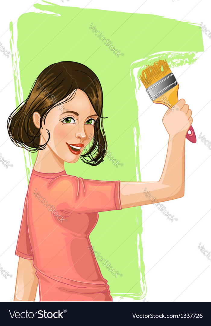 Woman paints the wall vector | Price: 1 Credit (USD $1)