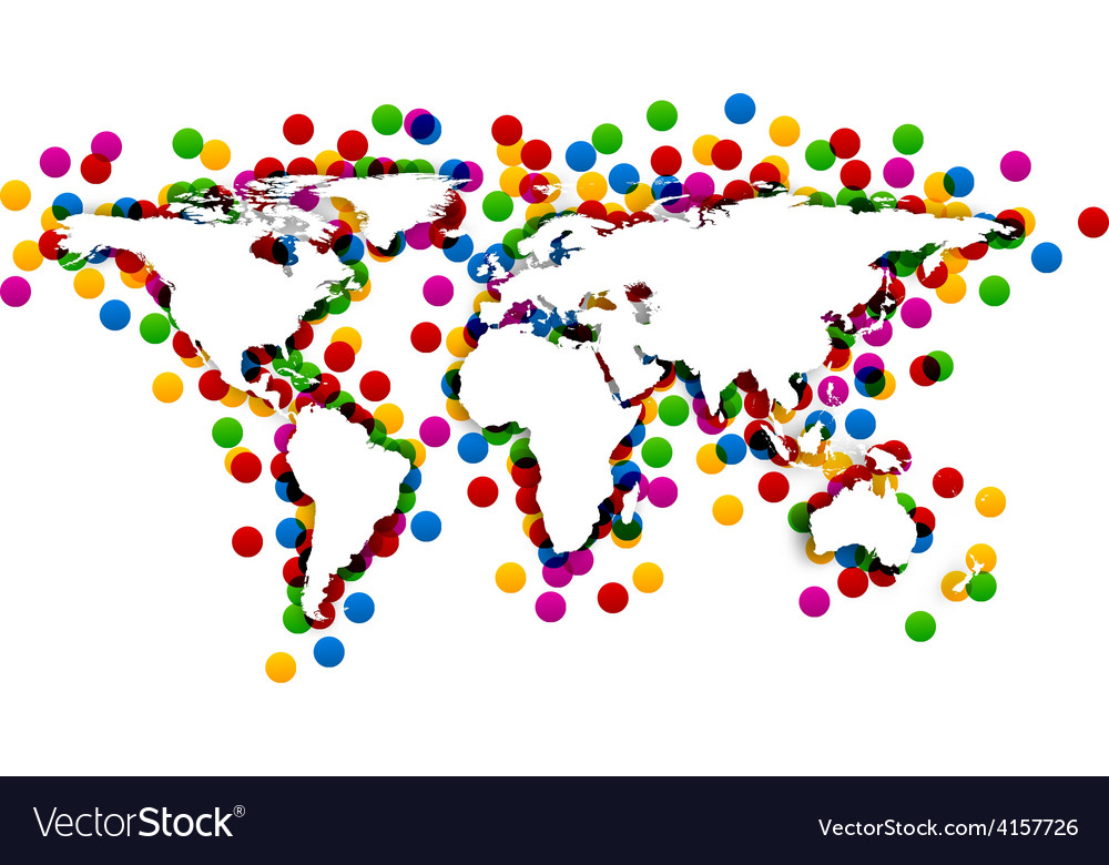 World map with confetti vector   Price: 1 Credit (USD $1)