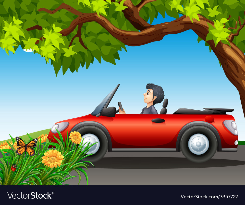 A man driving a red car vector | Price: 3 Credit (USD $3)