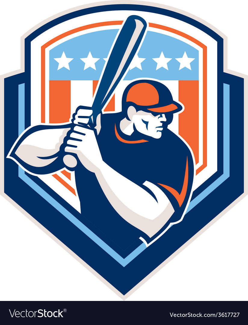 American baseball batter hitter shield retro vector | Price: 1 Credit (USD $1)