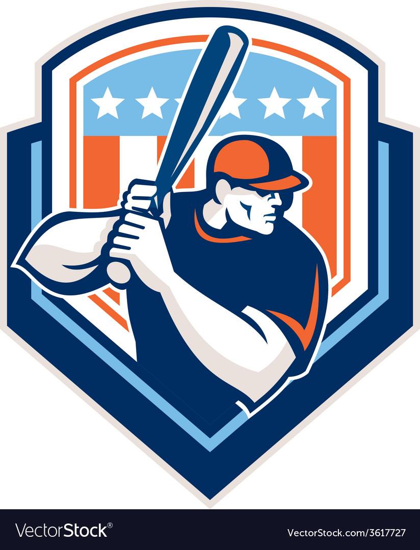 American baseball batter hitter shield retro vector | Price: 1 Credit (USD $1)
