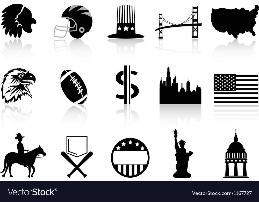 American symbol icons vector | Price: 1 Credit (USD $1)
