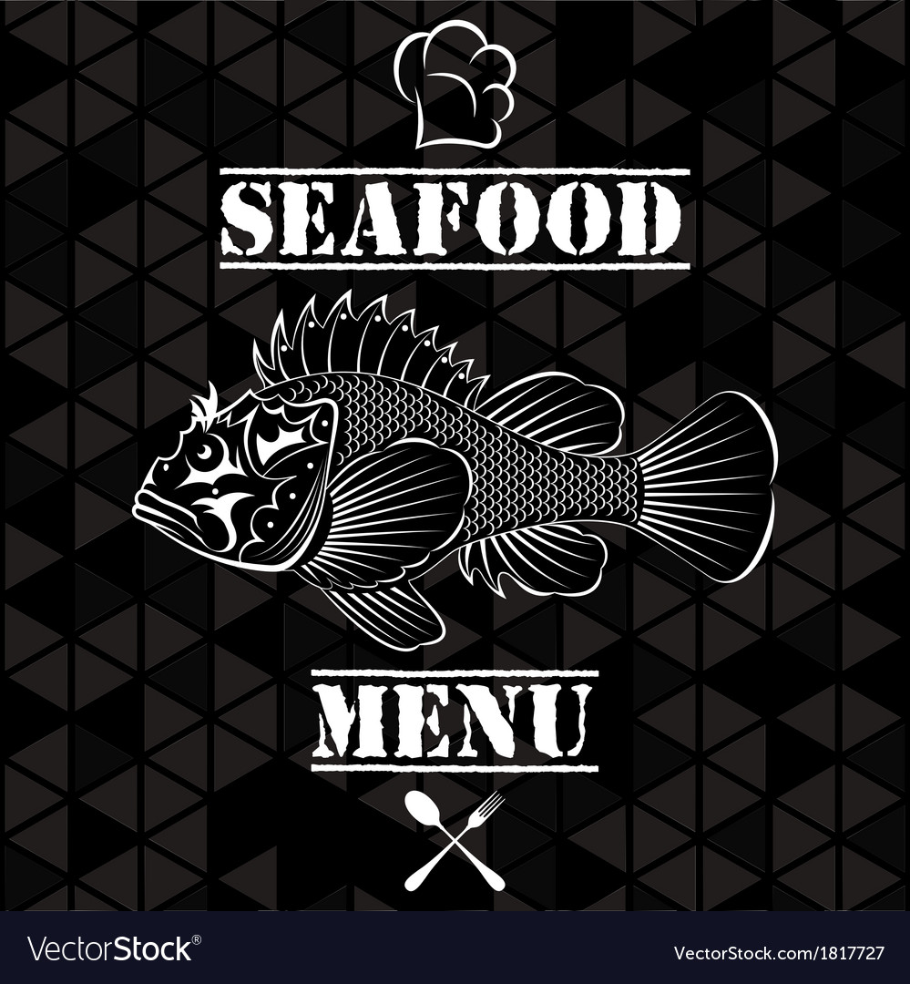 Banner with fish for the restaurant menu vector | Price: 1 Credit (USD $1)