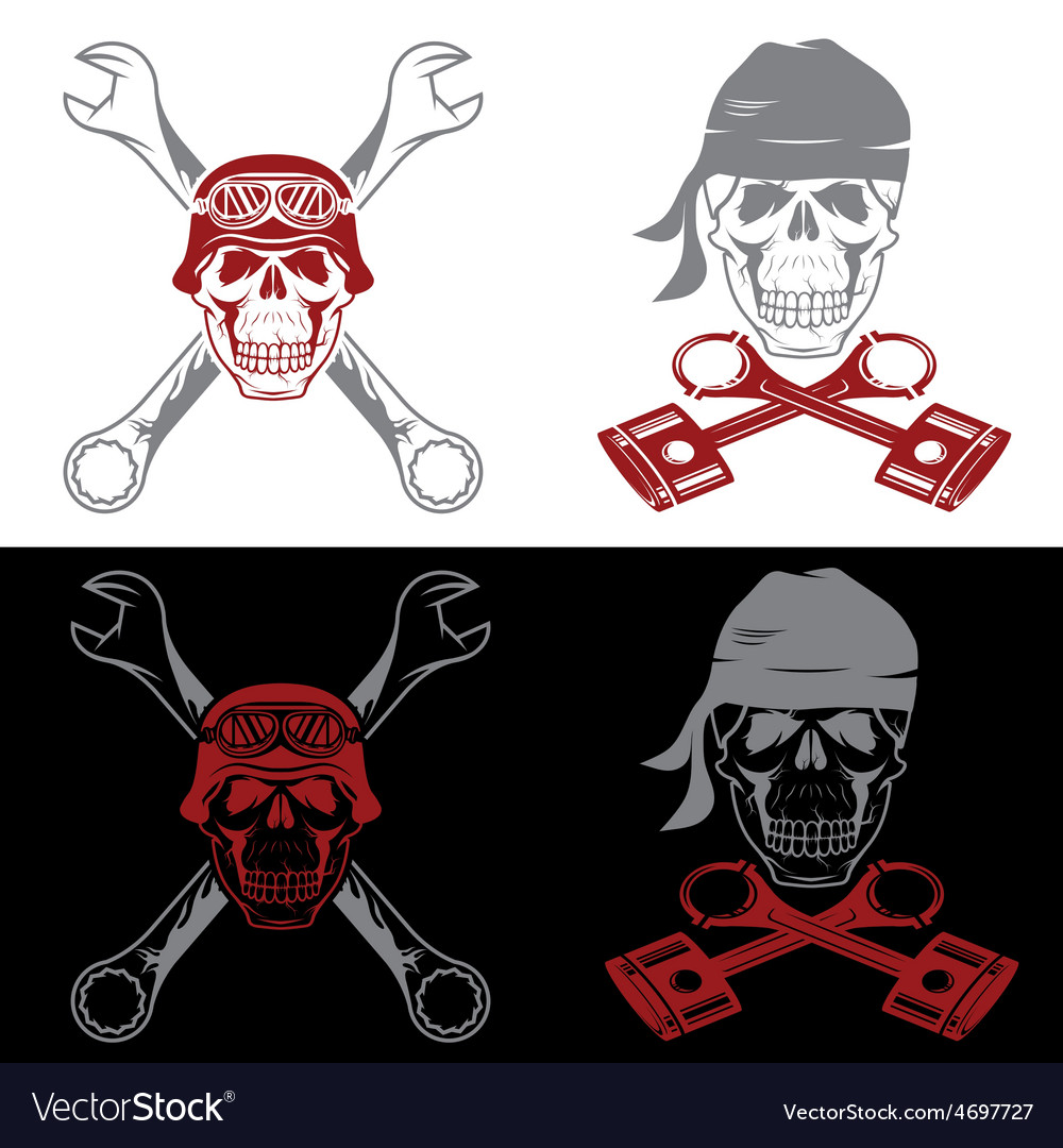 Biker theme labels with skull wrenches and pistons vector | Price: 1 Credit (USD $1)