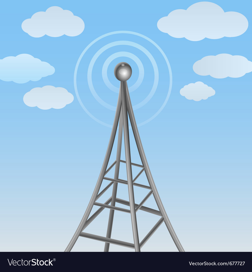 Communication antenna on cloudy background vector | Price: 1 Credit (USD $1)