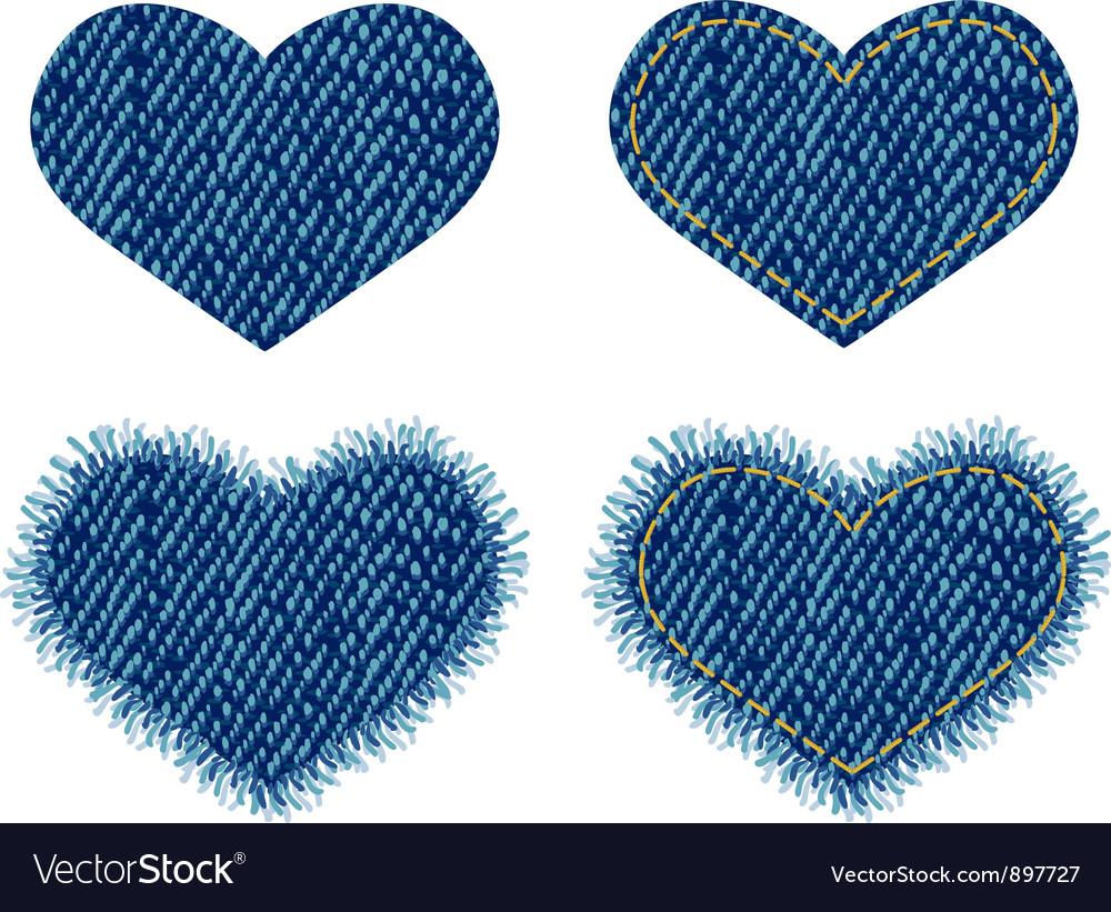 Denim heart patch vector | Price: 1 Credit (USD $1)