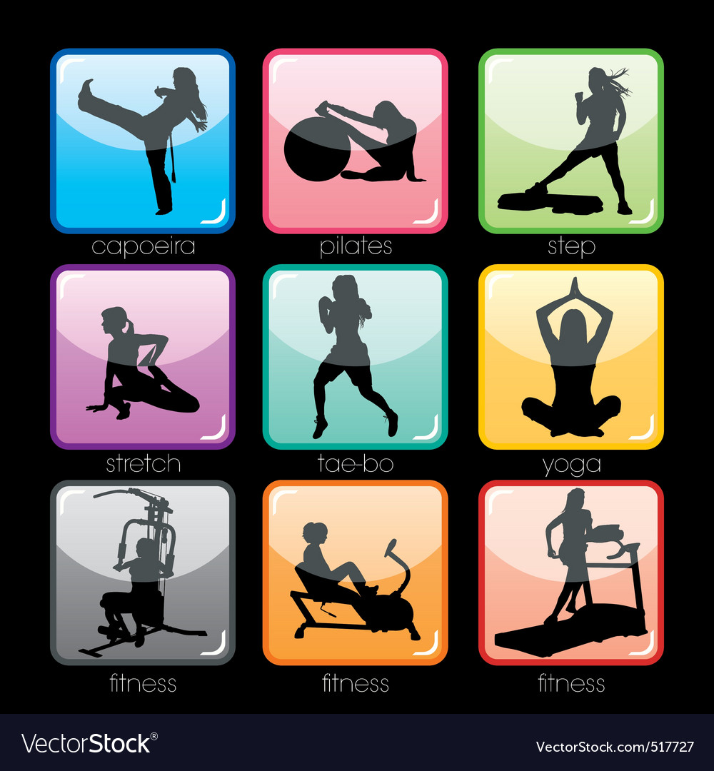 Fitness buttons set vector | Price: 1 Credit (USD $1)