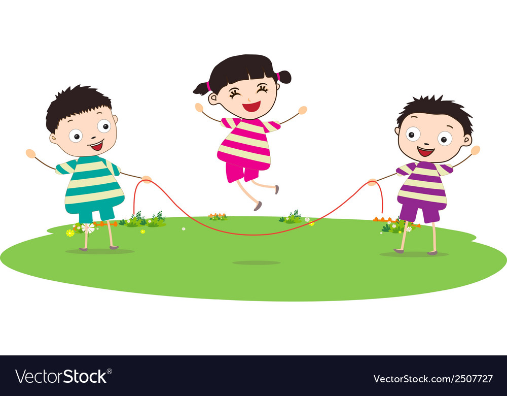 Little kids skipping vector | Price: 1 Credit (USD $1)