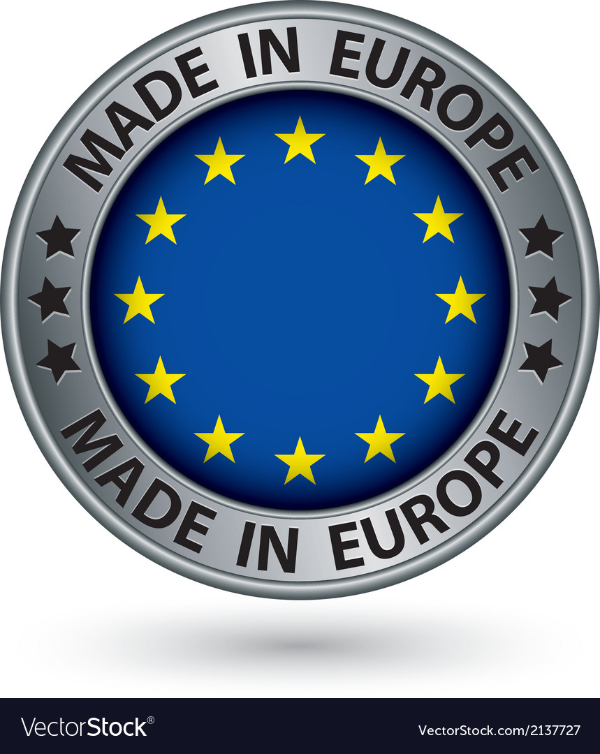 Made in european union silver label with flag vector | Price: 1 Credit (USD $1)