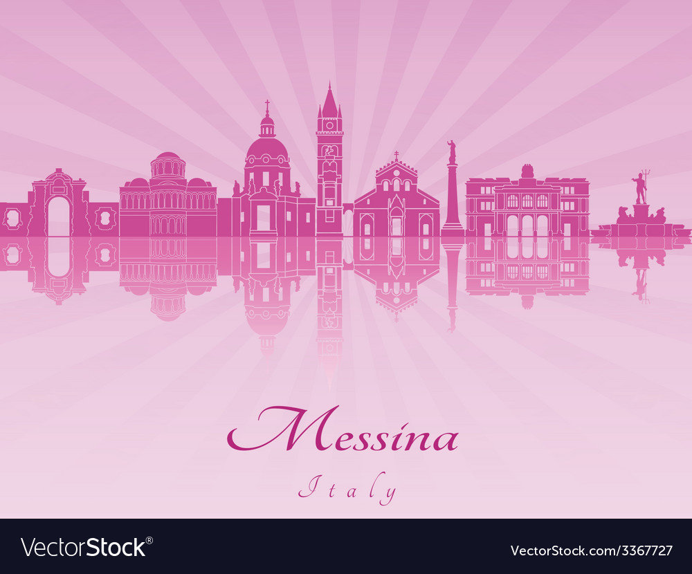 Messina skyline in purple radiant orchid vector | Price: 1 Credit (USD $1)
