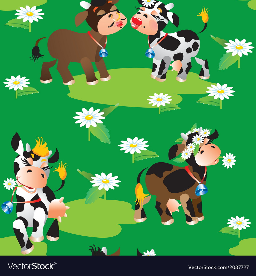 Seamless pattern with cute cartoon cows on green vector | Price: 1 Credit (USD $1)