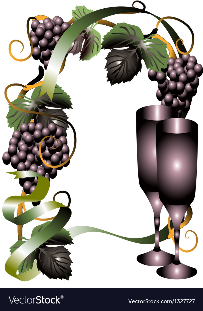 Wine glasses and vine vector | Price: 1 Credit (USD $1)