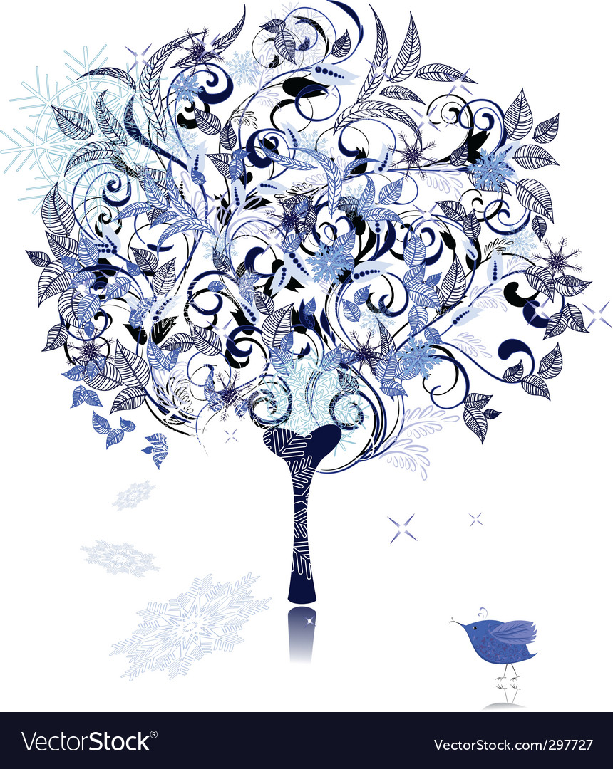 Winter snow tree decorated vector | Price: 1 Credit (USD $1)