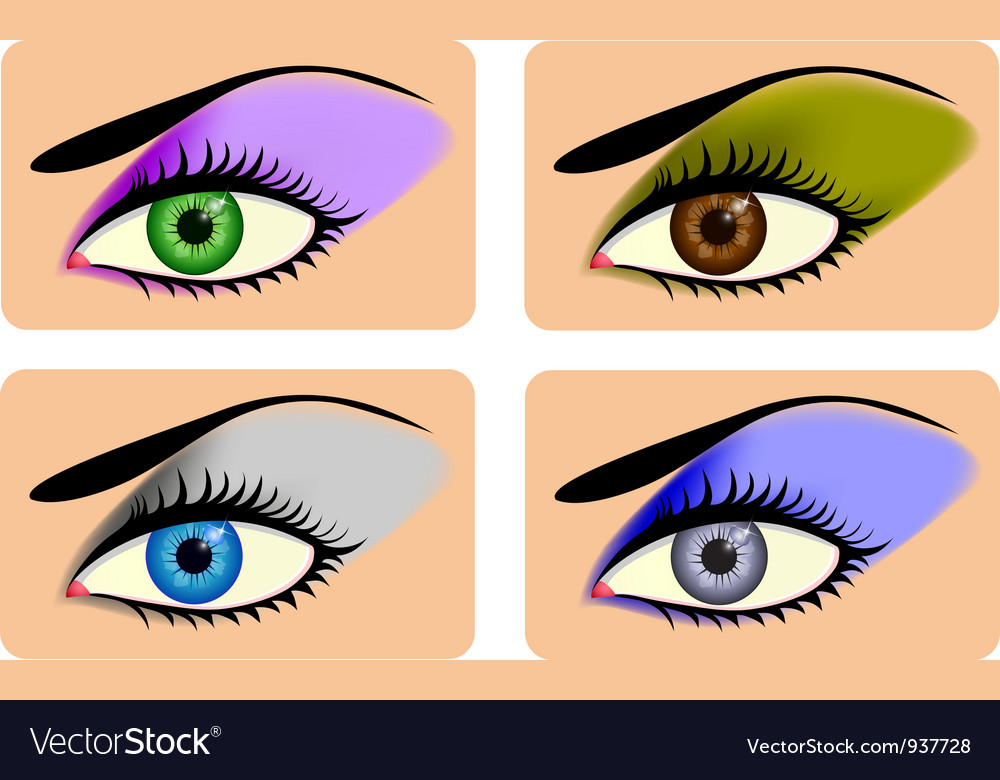 Attractive female eyes with vibrant eye shadow vector | Price: 3 Credit (USD $3)