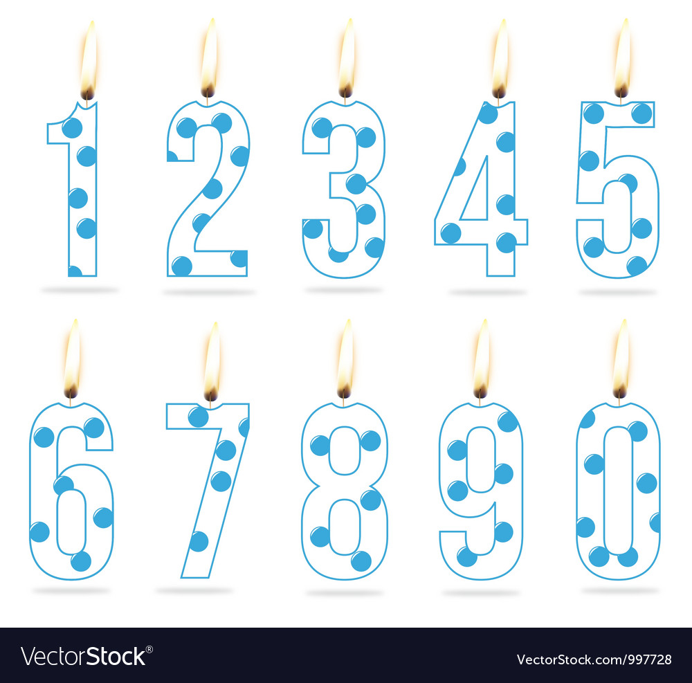 Birthday numeral candles boy vector | Price: 1 Credit (USD $1)