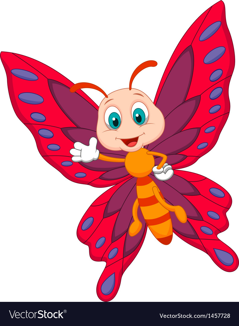 Cute butterfly cartoon waving vector | Price: 1 Credit (USD $1)