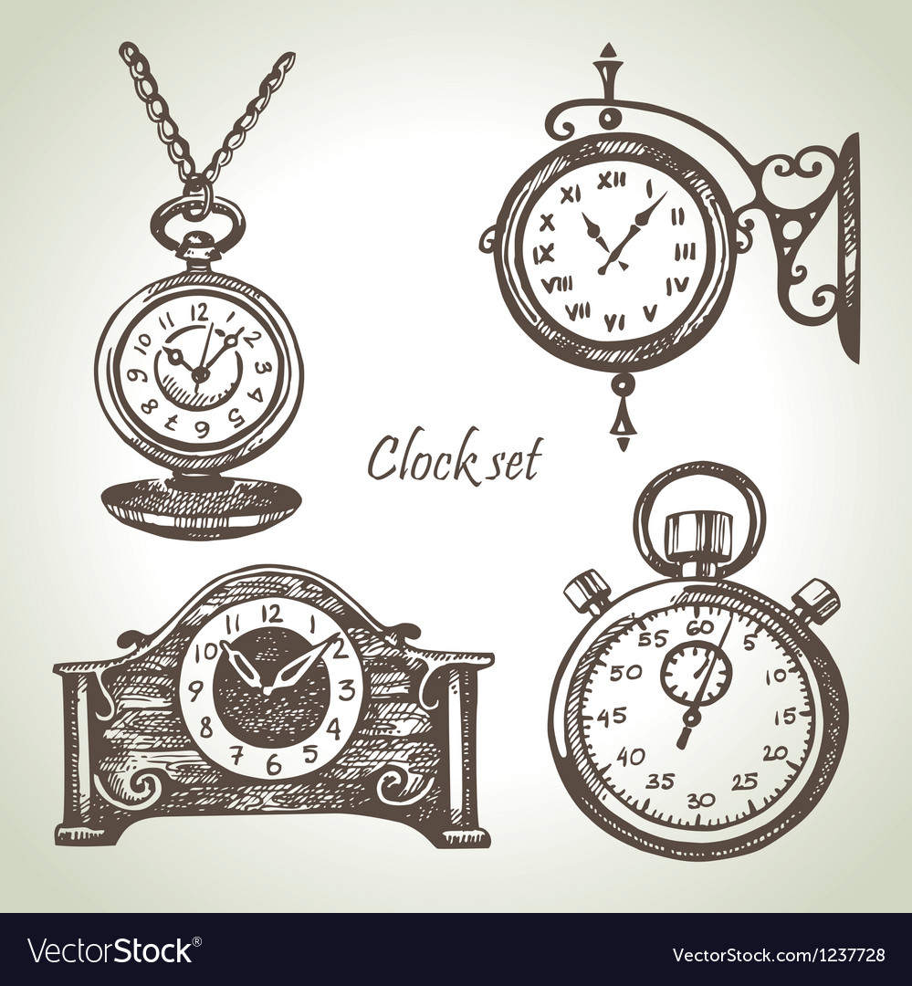 Hand drawn set of clocks and watches vector | Price: 1 Credit (USD $1)