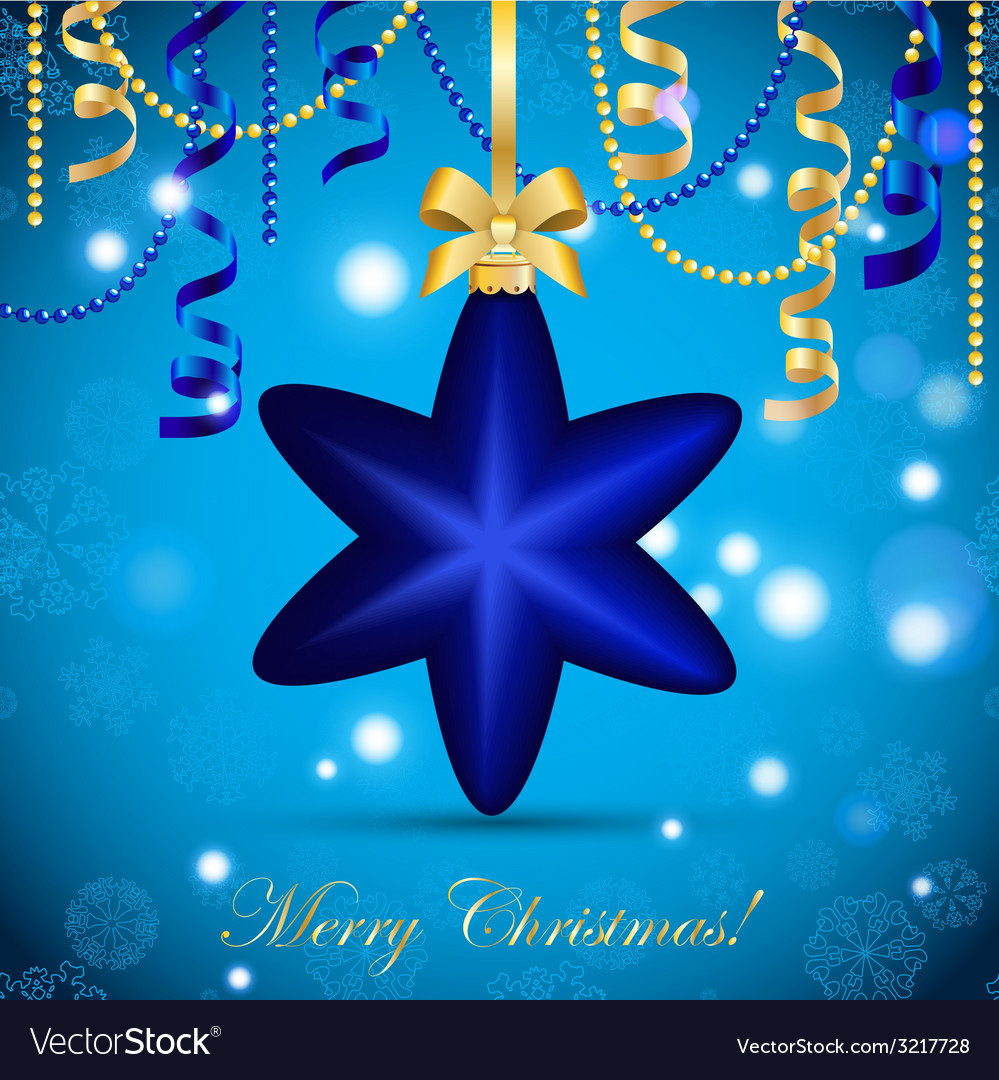 New year greeting card christmas star ball with vector | Price: 1 Credit (USD $1)