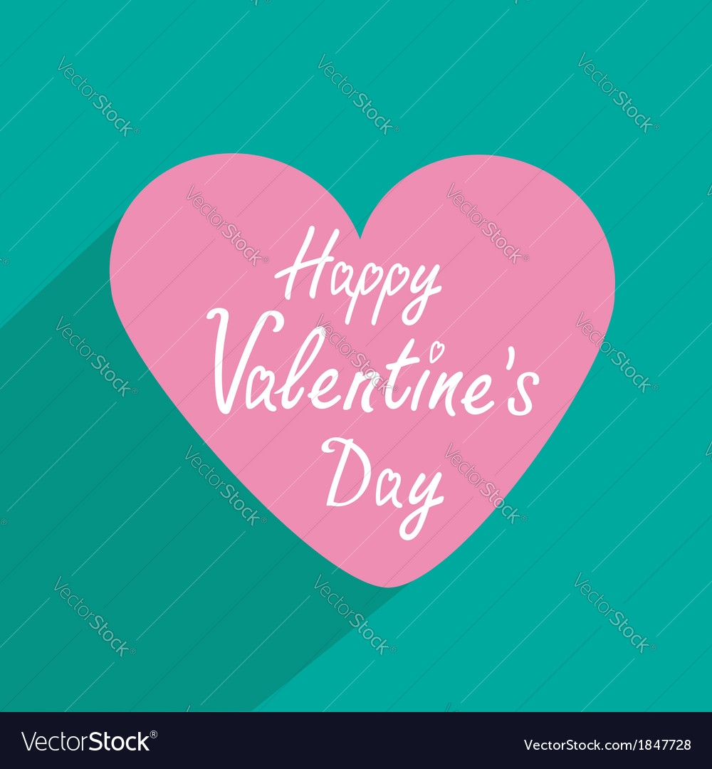 Pink heart with long shadow valentines day card vector | Price: 1 Credit (USD $1)