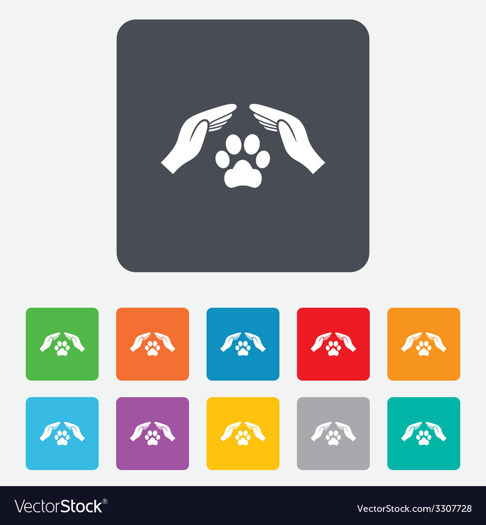 Protection of animals sign icon hands vector | Price: 1 Credit (USD $1)