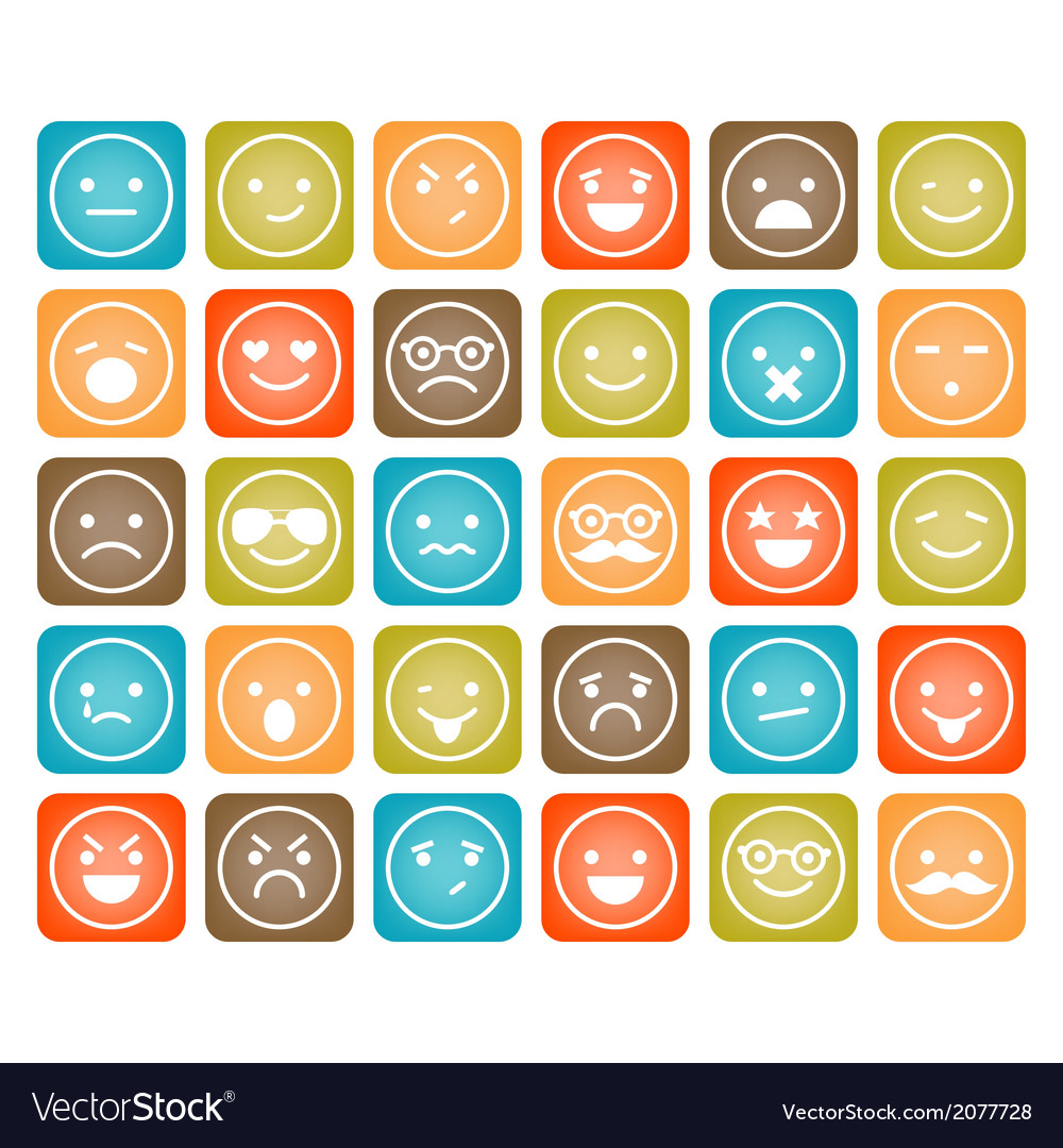 Set of color smiley icons isolated vector | Price: 1 Credit (USD $1)