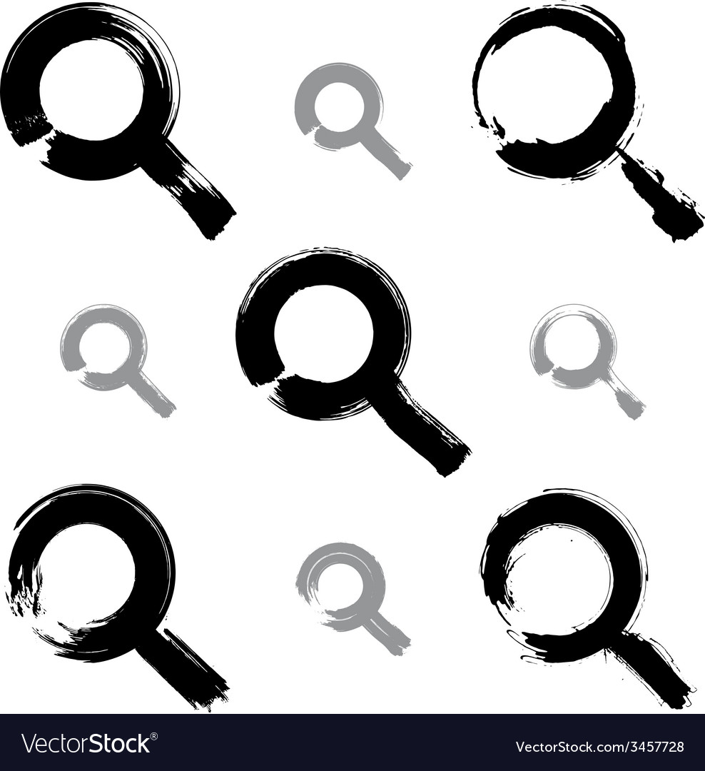 Set of hand-painted monochrome magnifying glass vector | Price: 1 Credit (USD $1)