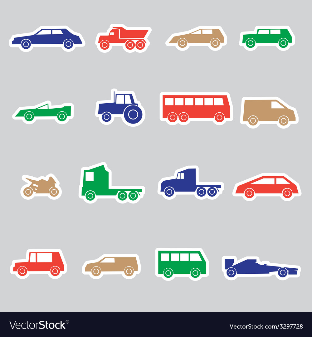 Simple cars color stickers collection eps10 vector | Price: 1 Credit (USD $1)