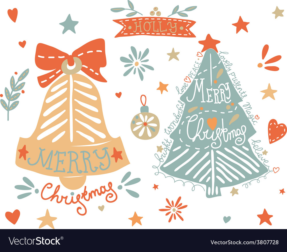 Sketchy elements set with a christmas tree and a vector | Price: 1 Credit (USD $1)