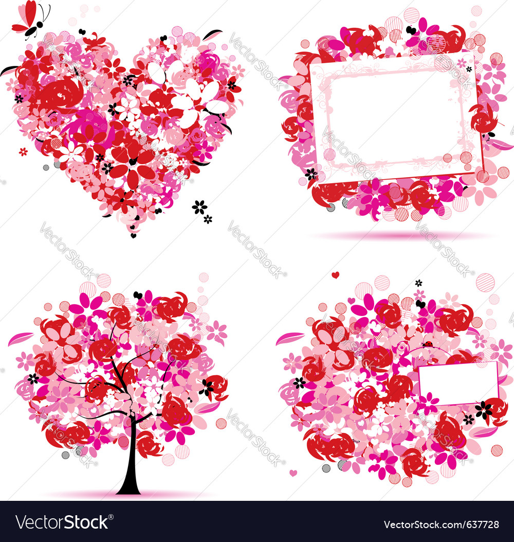 Summer pink tree frame vector | Price: 1 Credit (USD $1)