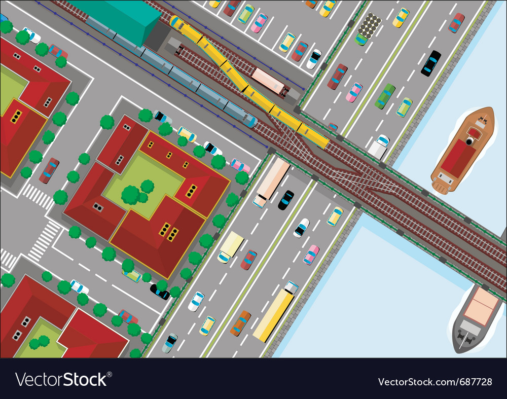 Traffic in the city vector | Price: 3 Credit (USD $3)
