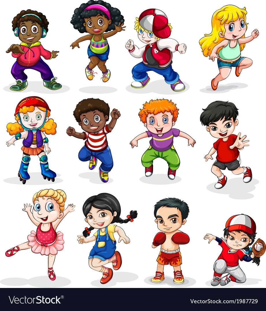 Energetic kids vector | Price: 1 Credit (USD $1)