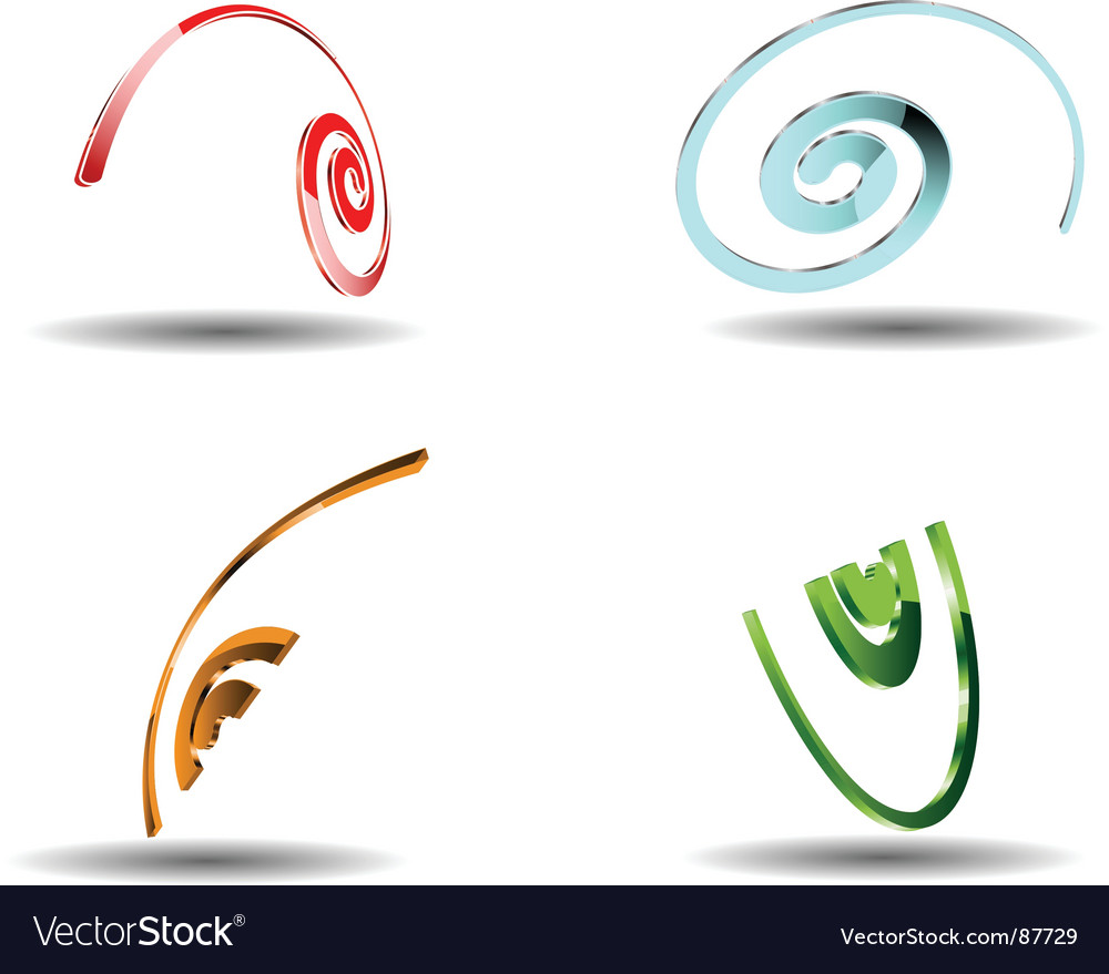 Four 3d helix vector | Price: 1 Credit (USD $1)